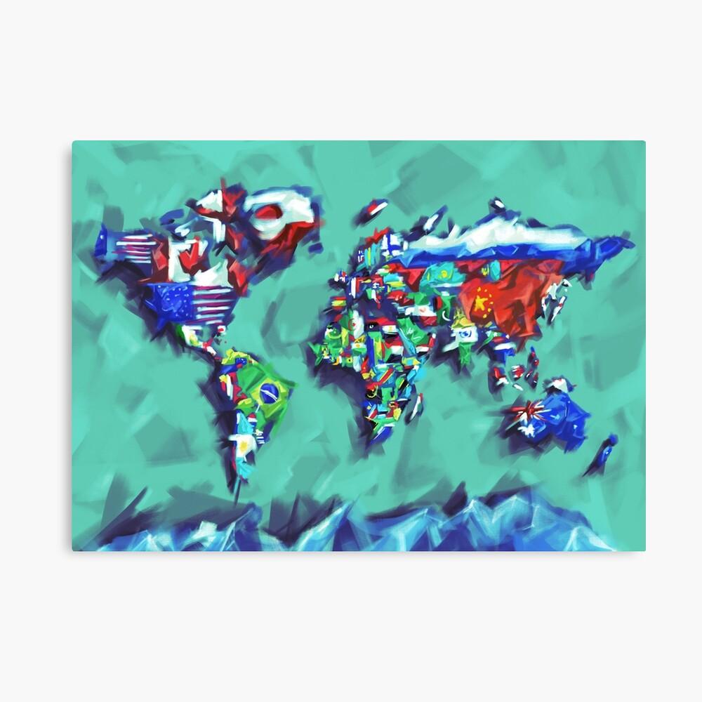 Flaggen der Weltkarte Leinwanddruck