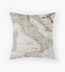 Vintage Map of Italy (1714) Throw Pillow