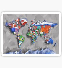 world map flags 3 Sticker