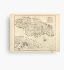 Vintage Jamaica Map Canvas Prints Redbubble - Vintage map of jamaica