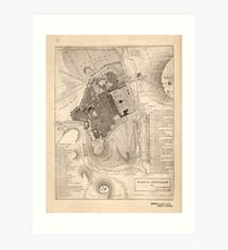 Vintage Map of Jerusalem Israel (1835) Art Print