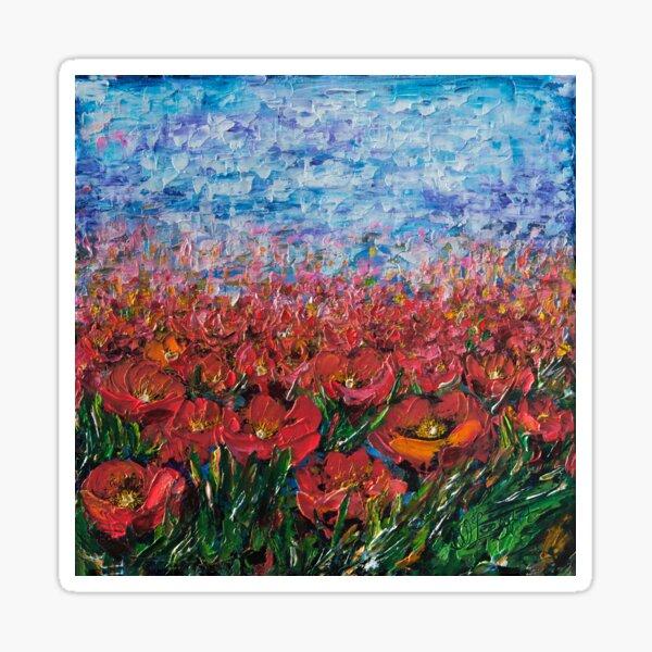 Red Poppy Field With a Palette Knife  Sticker