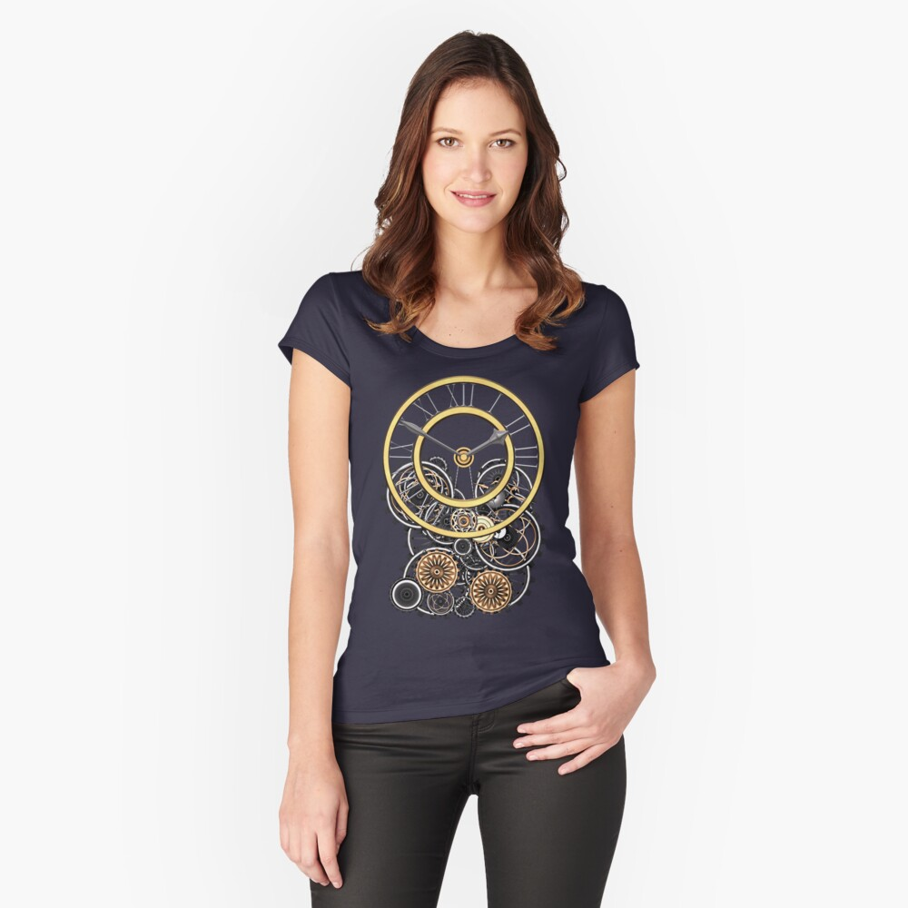 Stylish Vintage Steampunk Timepiece Steampunk T-Shirts Women's Fitted Scoop T-Shirt Front