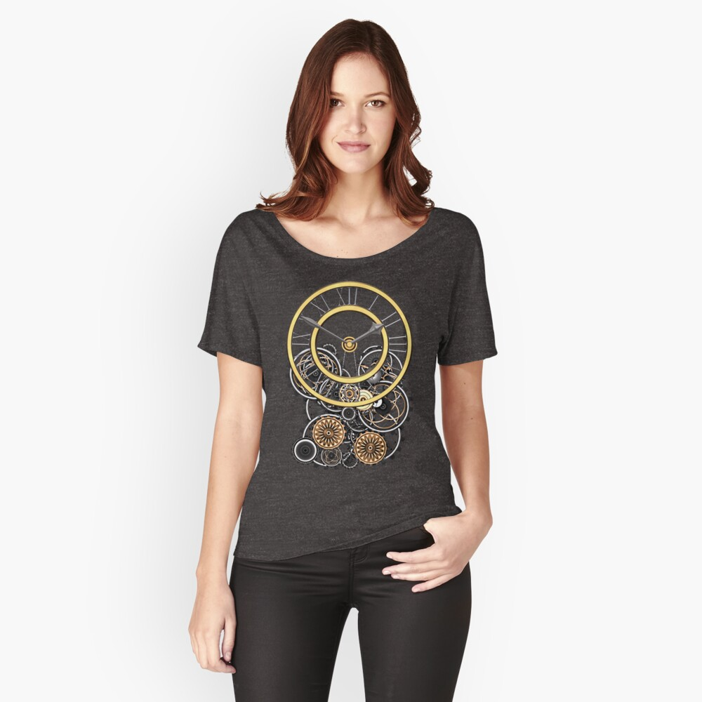 Stylish Vintage Steampunk Timepiece Steampunk T-Shirts Women's Relaxed Fit T-Shirt Front