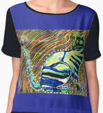Butterfly Cat Abstract Chiffon Top
