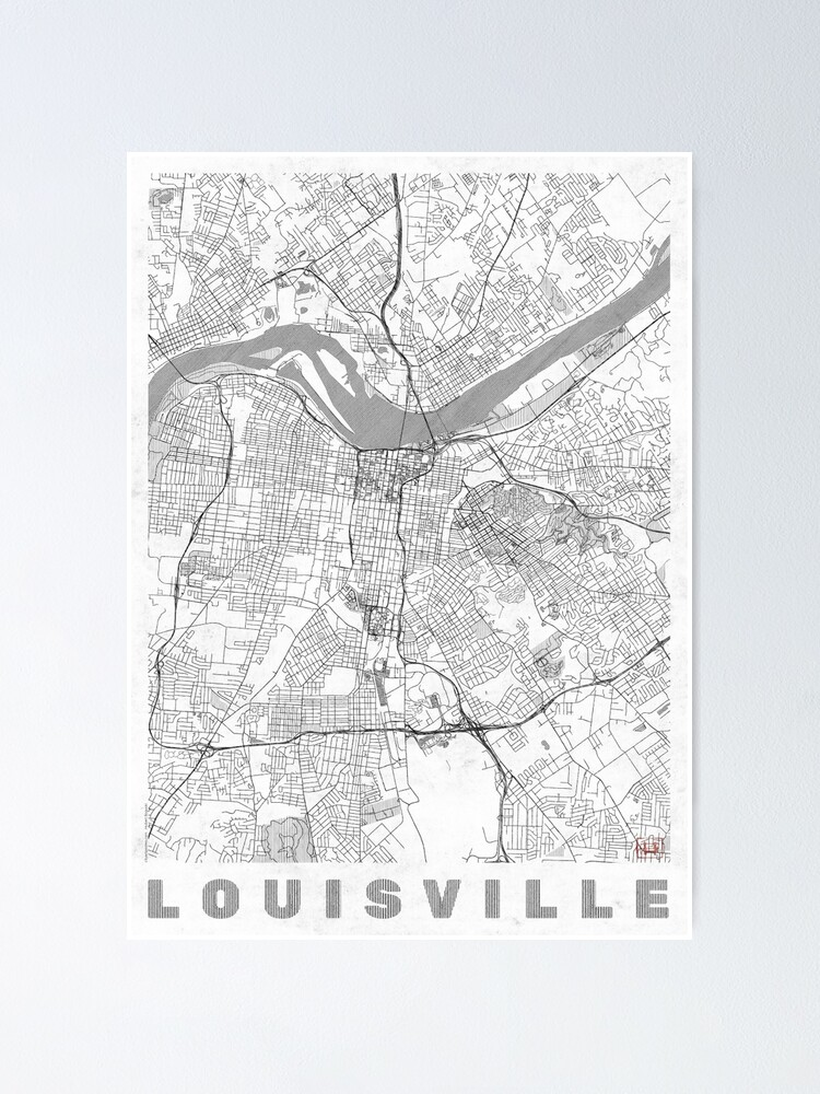 Alternate view of Louisville Map Line Poster