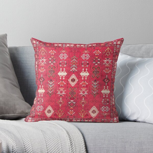 Pink Colored Heritage Berber Oriental Traditional Moroccan Style Throw Pillow