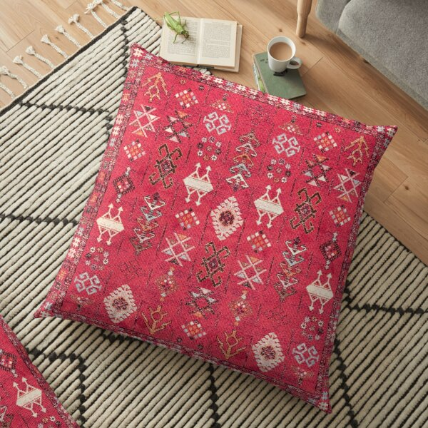 Pink Colored Heritage Berber Oriental Traditional Moroccan Style Floor Pillow