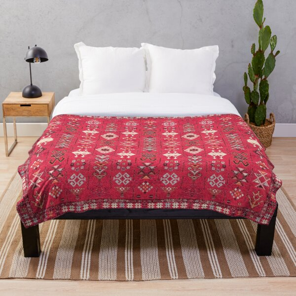 Pink Colored Heritage Berber Oriental Traditional Moroccan Style Throw Blanket