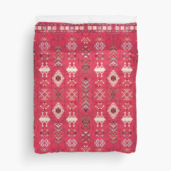 Pink Colored Heritage Berber Oriental Traditional Moroccan Style Duvet Cover