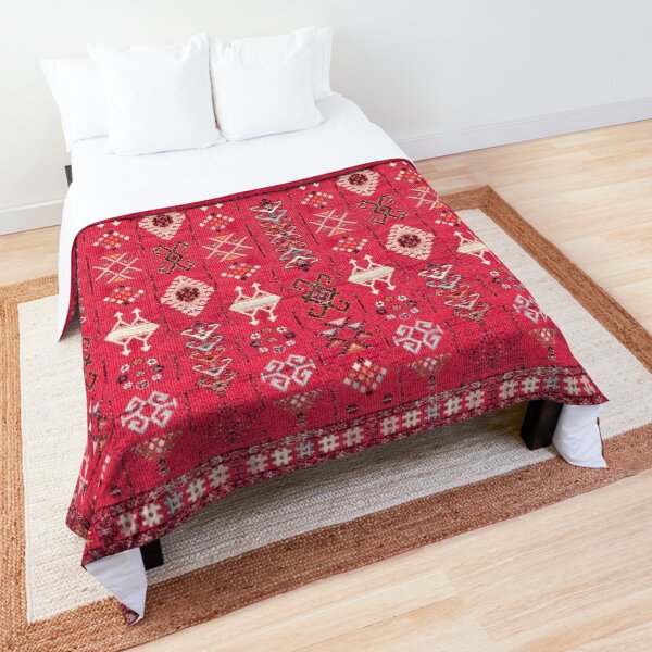 Pink Colored Heritage Berber Oriental Traditional Moroccan Style Comforter