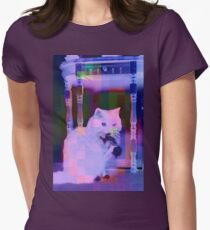 A White Cat Eating a Black Bird Womens Fitted T-Shirt