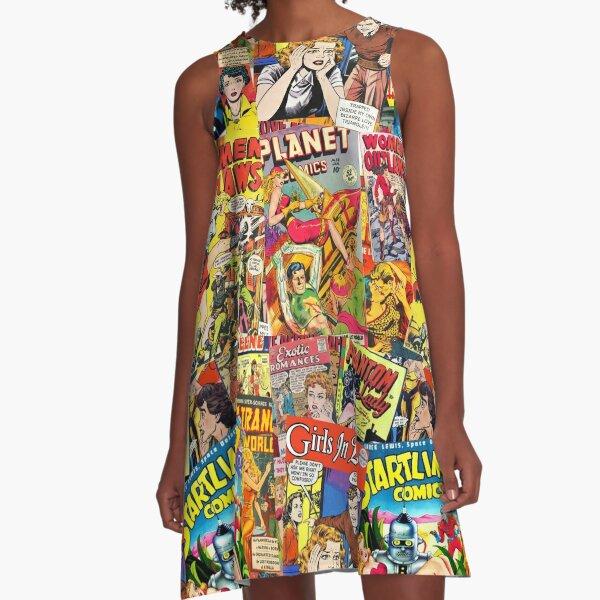 Vintage Comic Book Collage  A-Line Dress