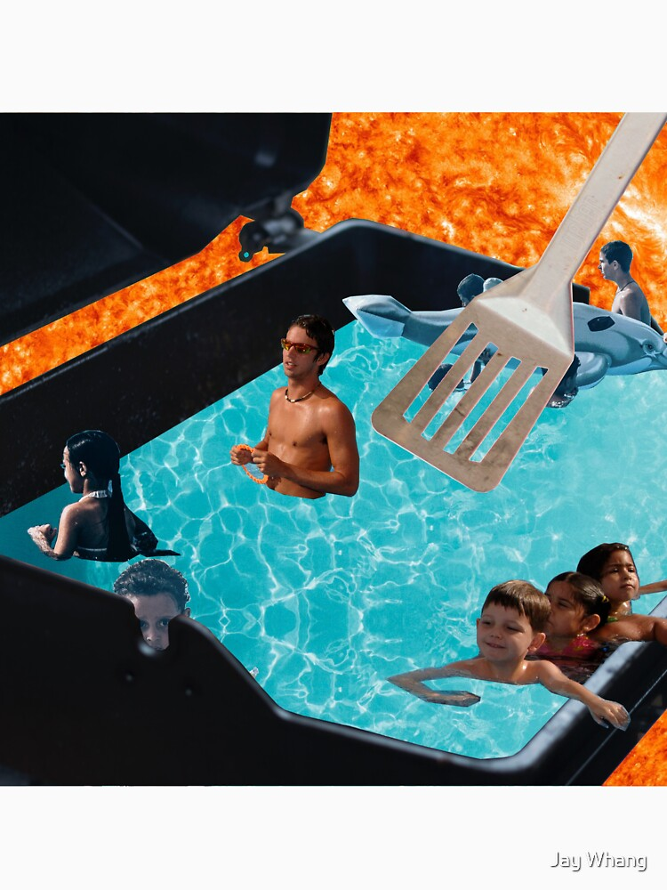 Warm Swimming Pool of Summer (Collage Art) by Jay-Whang-Arts