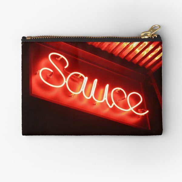 Sauce (phtograph of cursive neon sign in New York) Zipper Pouch