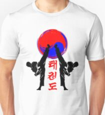 taekwondo badge black high kick korean martial art kick and punch T-Shirt