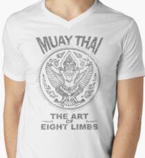 muay thai garuda sacred spirit of thailand the art of eight limbs Men's V-Neck T-Shirt