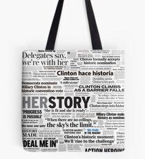 Hillary Clinton Historic Headlines Tote Bag