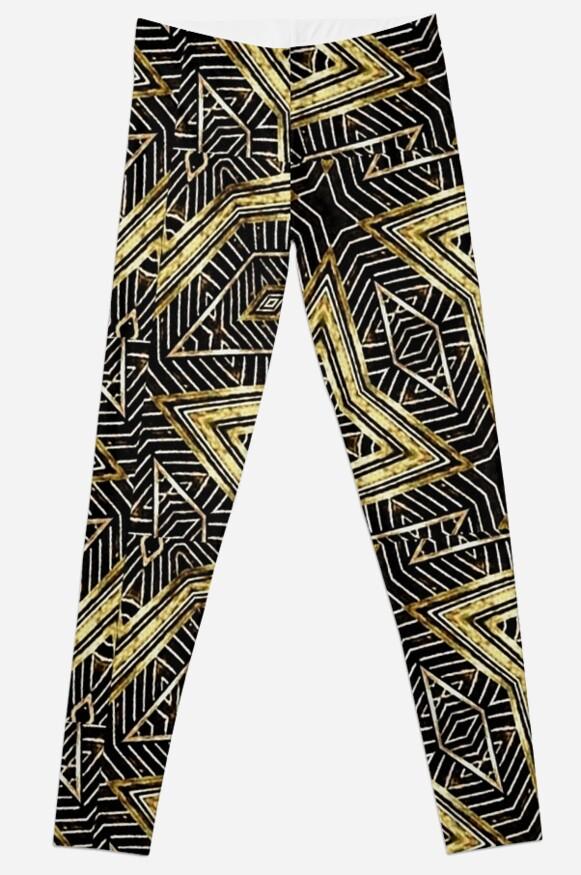 Geometric Tribal Golden Pattern Print by DFLC Prints