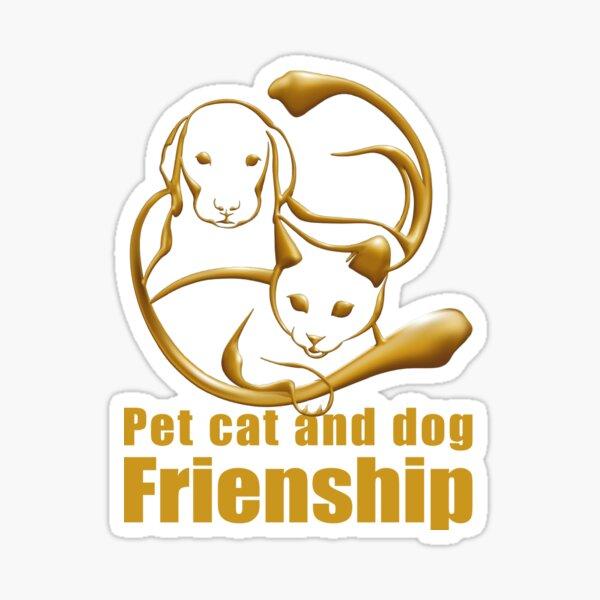 Pet cat and dog friendship design. Sticker