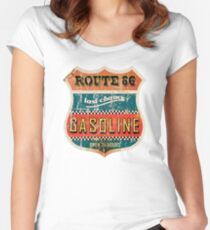 Route 66 Gasoline vintage sign Women's Fitted Scoop T-Shirt
