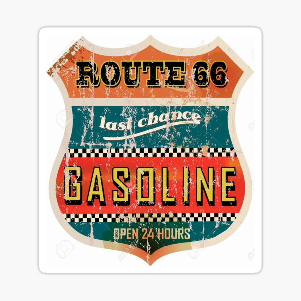Route 66 Gasoline vintage sign Sticker