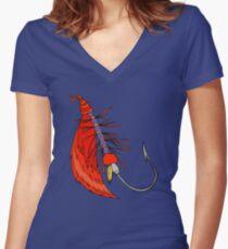 Fishing, Funny, vintage, retro, humour, parody, tshirt Women's Fitted V-Neck T-Shirt