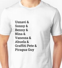 In the Heights Characters (black lettering) Unisex T-Shirt