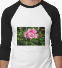 Pink Flowers Men's Baseball ¾ T-Shirt