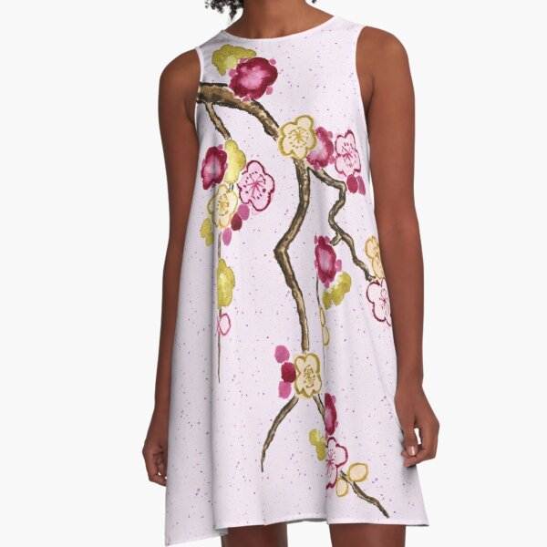 Hand-Painted Plum Blossoms Umenohana Washi Paper A-Line Dress