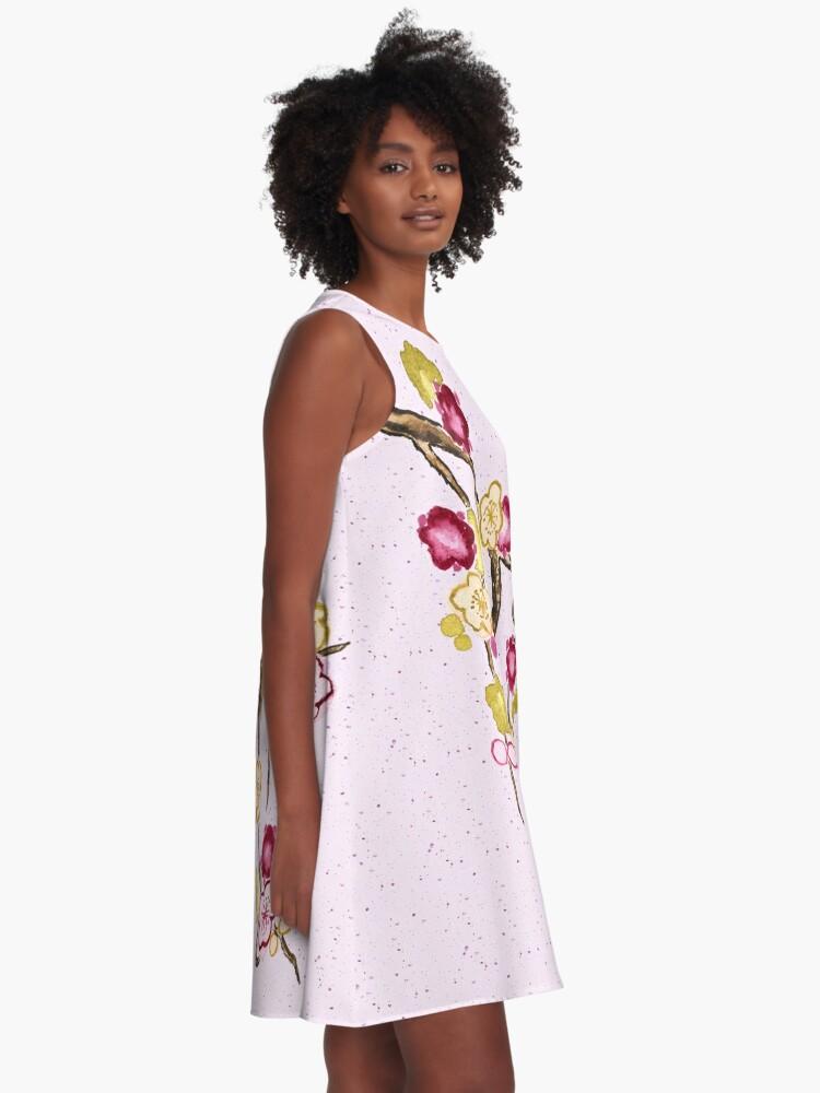 Alternate view of Hand-Painted Plum Blossoms Umenohana Washi Paper A-Line Dress