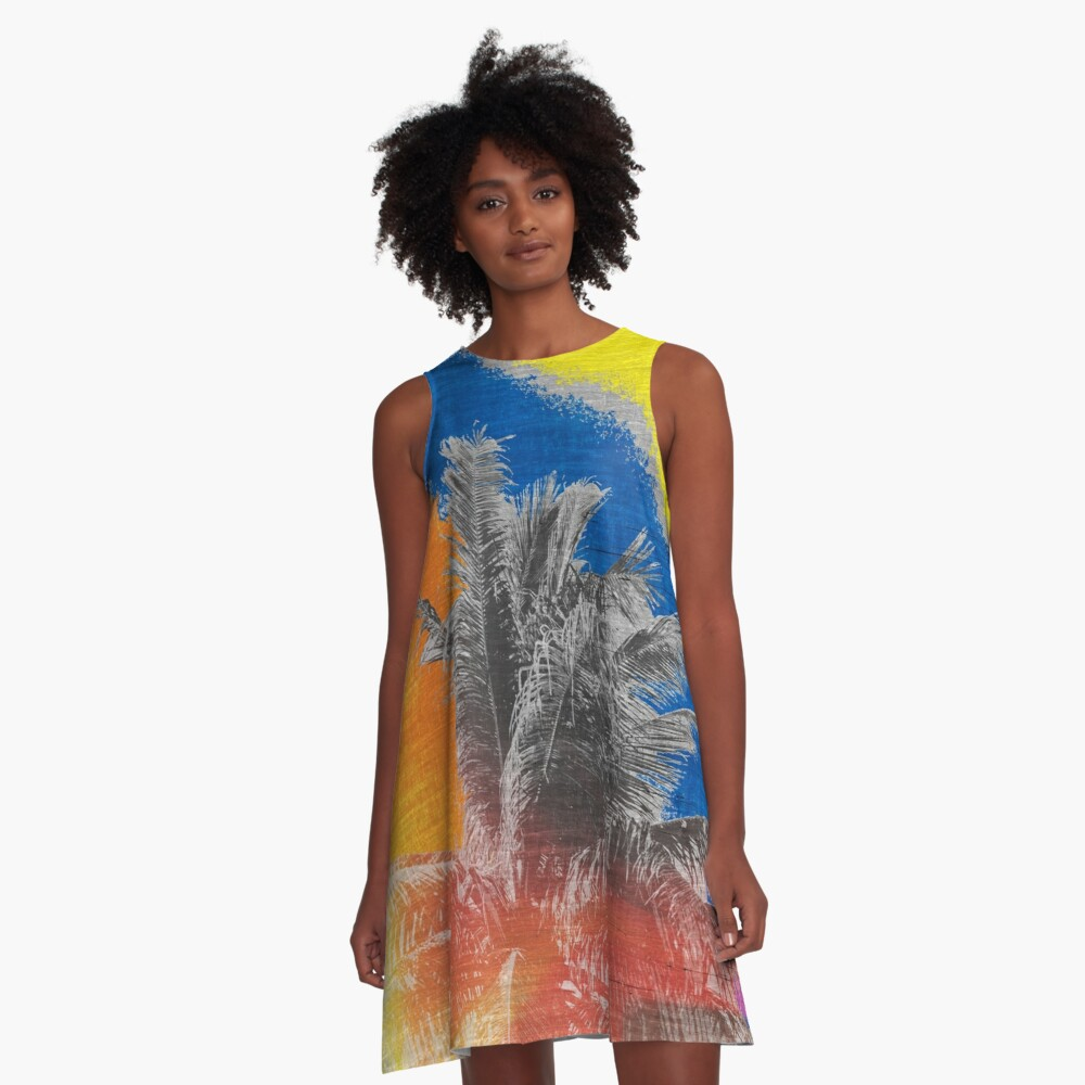 Coconut Tree Pop Art Retro Tropical Vintage Palm A-Line Dress Front