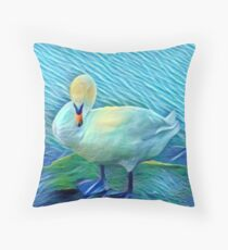 Preening Swan by the Lake  Throw Pillow