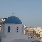 Santorini with Greek church by Caroline Clarkson