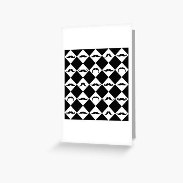 Mustachetic Black Greeting Card