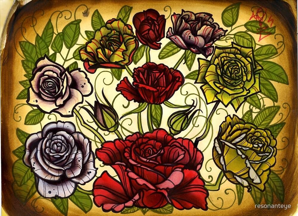 roses, rose tattoo flash sheet by resonanteye