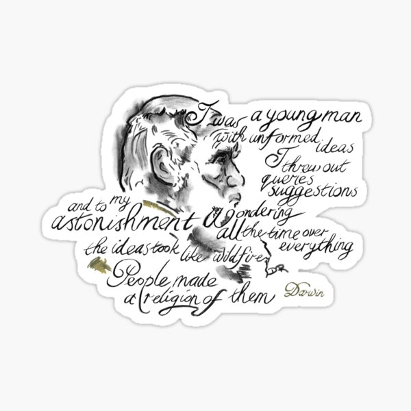 Charles Darwin Picture Quote - Wonder Over Everything Sticker