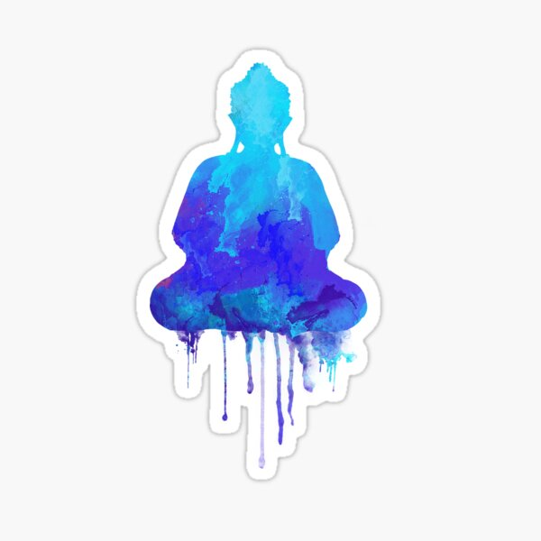 Blue Buddha Watercolor Illustration | Zen and Spiritual Design for a Peaceful Home Sticker