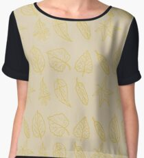Golden Autumn Leaves Repeating Pattern Women's Chiffon Top