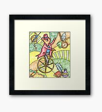 Mouse on Penny Farthing Framed Print