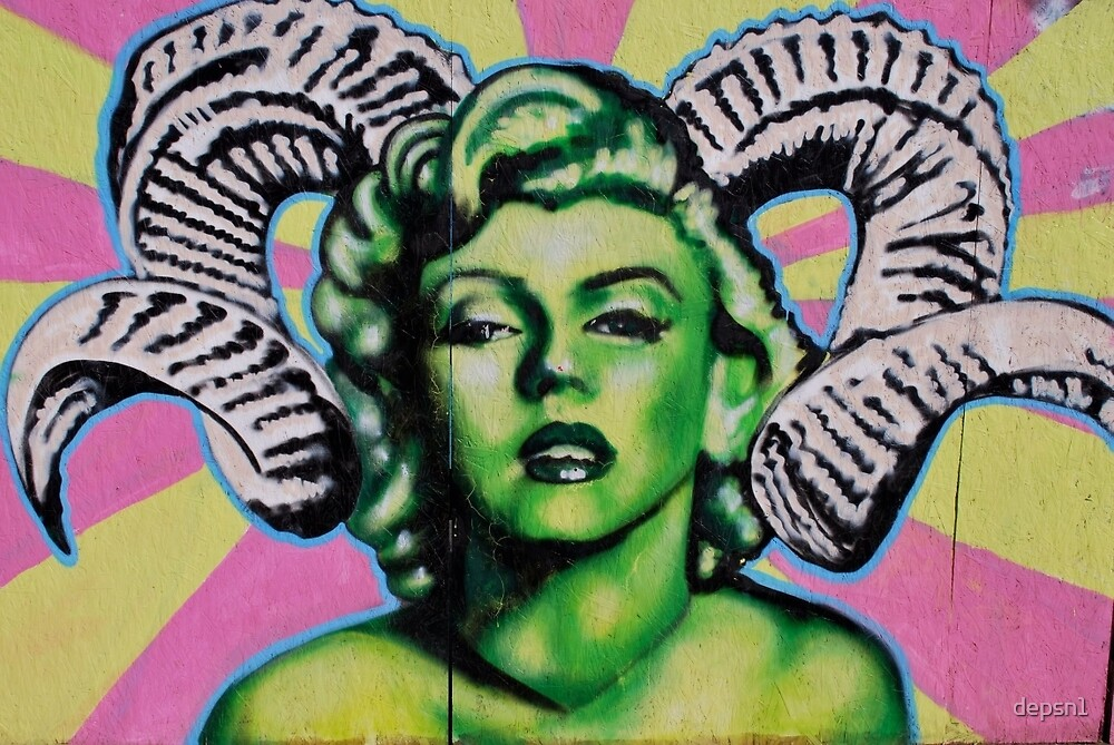 Green Marilyn with Horns by depsn1