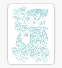 Mermaid and Friends - aqua print Sticker