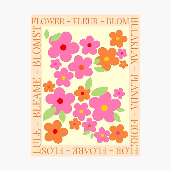 FLOWER in different languages Photographic Print