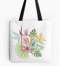 Tropical Floral With Gold Initial M Tote Bag
