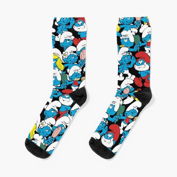 Smur Pattern of Characters - Black Socks