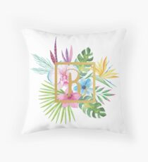 Tropical Floral With Gold Initial R Throw Pillow