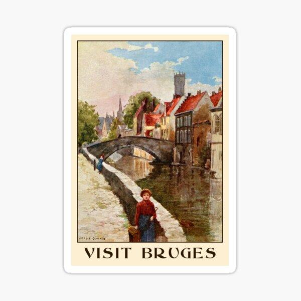 Vintage retro style Bruges travel ad Sticker