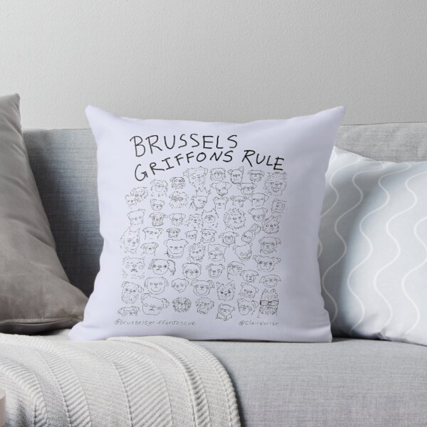 Lavender- Brussels Griffons Rule Throw Pillow
