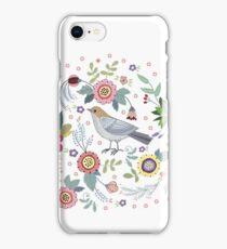 Beautiful bird in flowers iPhone Case/Skin