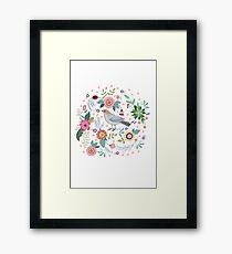 Beautiful bird in flowers Framed Print